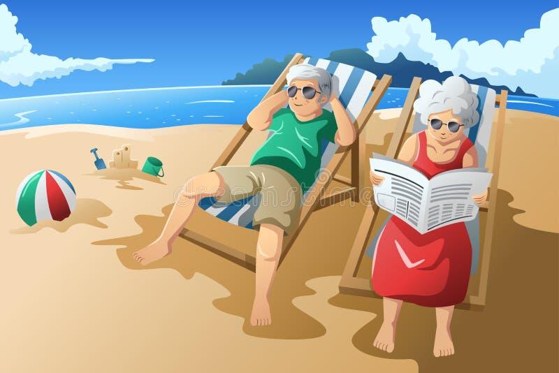 享受他们的退休的资深夫妇 向量例证