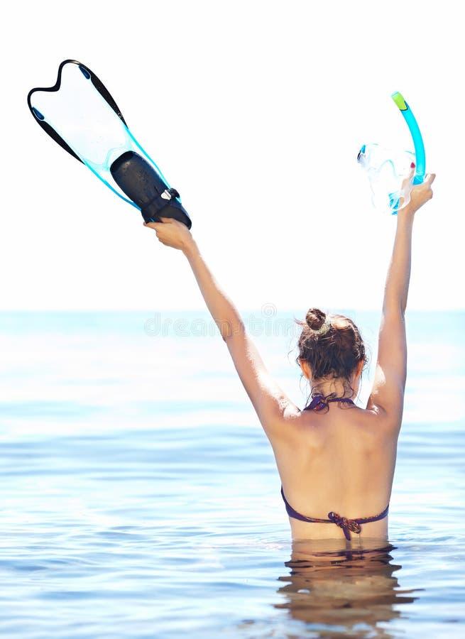 享受snorkling 库存图片