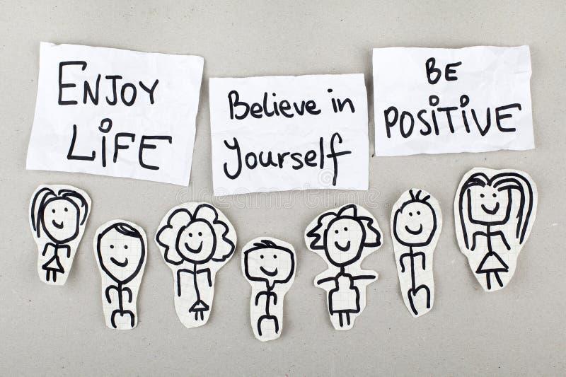 享有生活,相信你自己,是正面的 库存照片