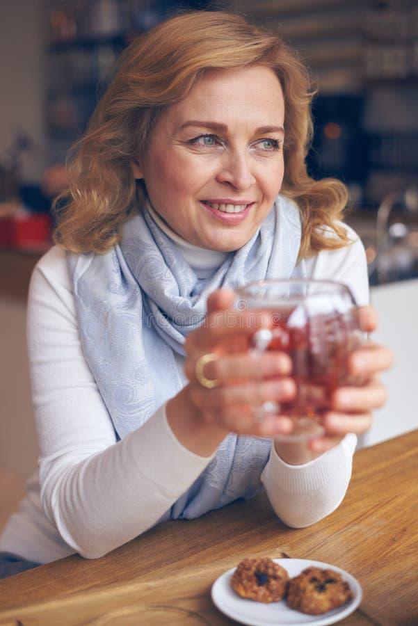 享用一杯茶的微笑的成熟妇女 免版税库存照片