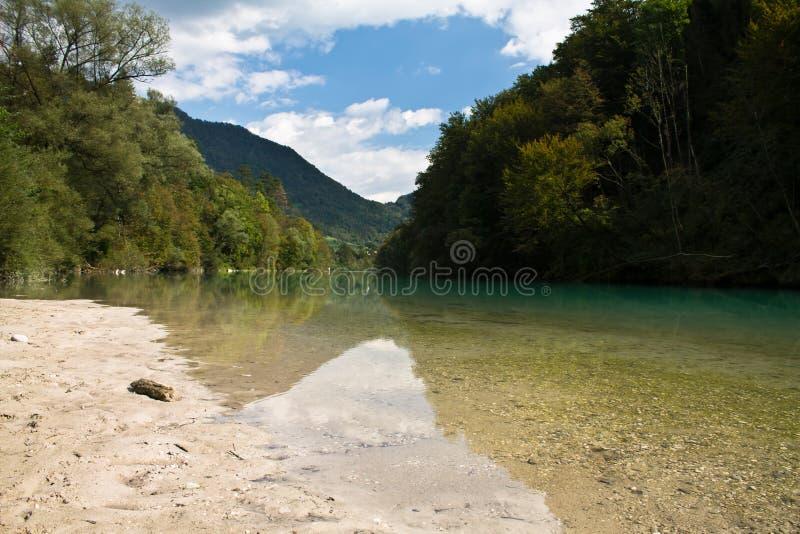 享用在美妙的landcsape在有纯净的河soca的朱利安阿尔卑斯, tolmin,斯洛文尼亚 免版税库存照片