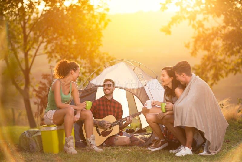 享用在音乐的小组年轻露营车 图库摄影