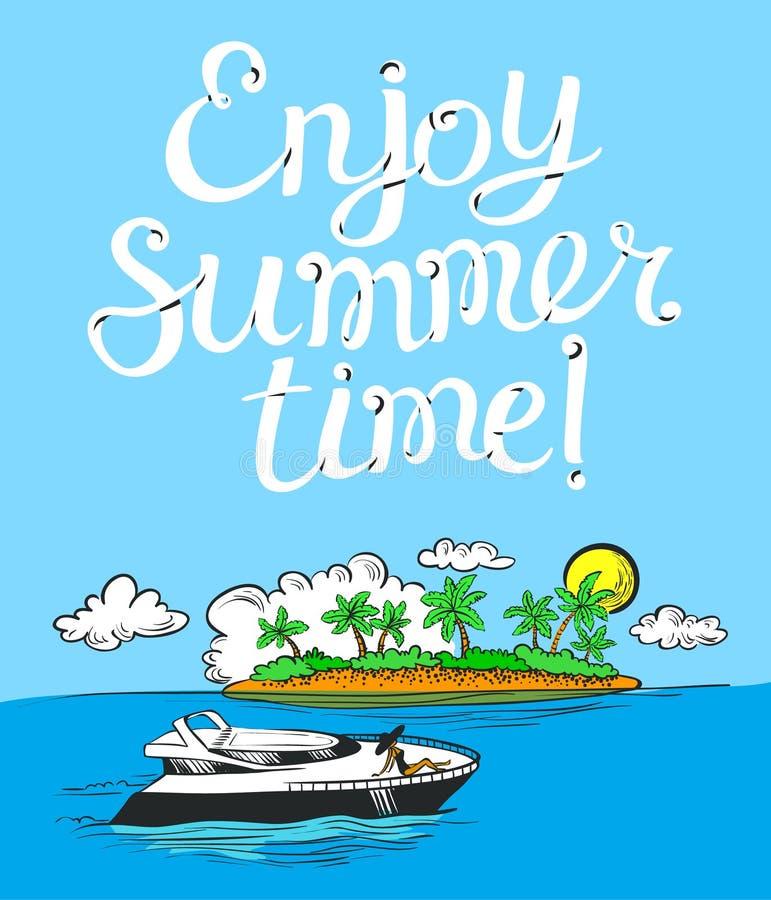 享用夏时字法海报 与动画片yach的背景 向量例证