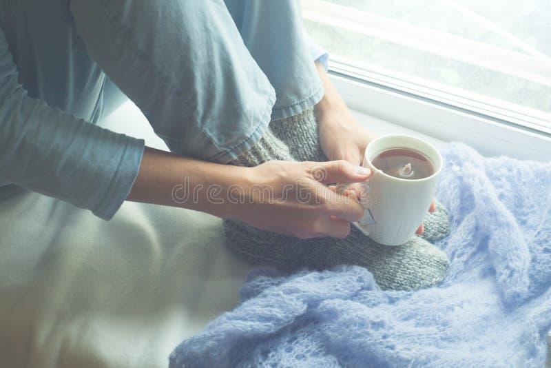 享用她的早晨咖啡或茶的少妇,看窗口 喝热的饮料的美丽的浪漫无法认出的女孩 免版税图库摄影