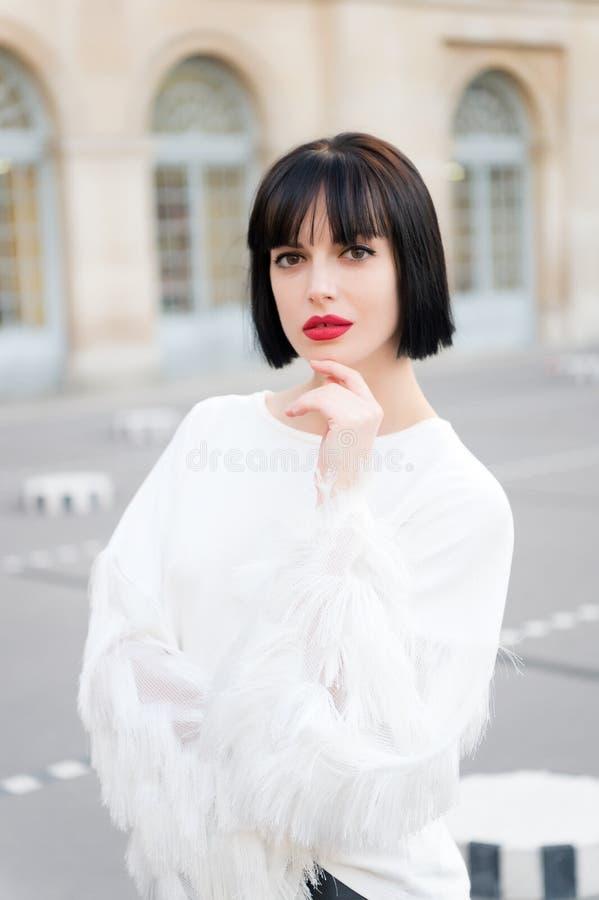 享用宫殿的美丽的少妇在巴黎, 免版税库存图片