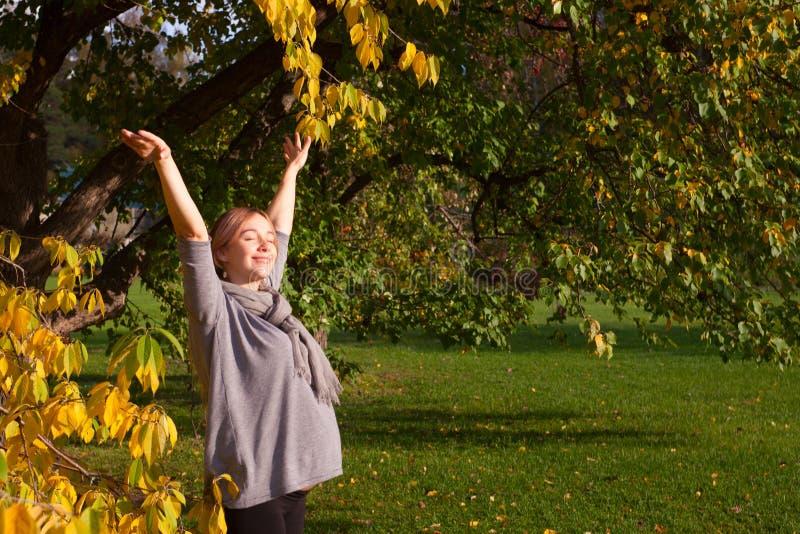 享用有开放胳膊的怀孕的少妇画象秋天公园 怀孕和秋天和谐的概念 免版税库存图片