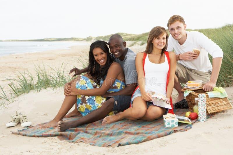 享用朋友野餐年轻人的海滩 免版税库存照片