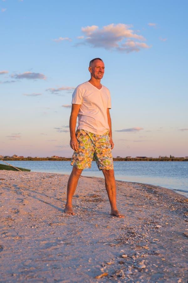 享用海滩的人日落人 免版税图库摄影