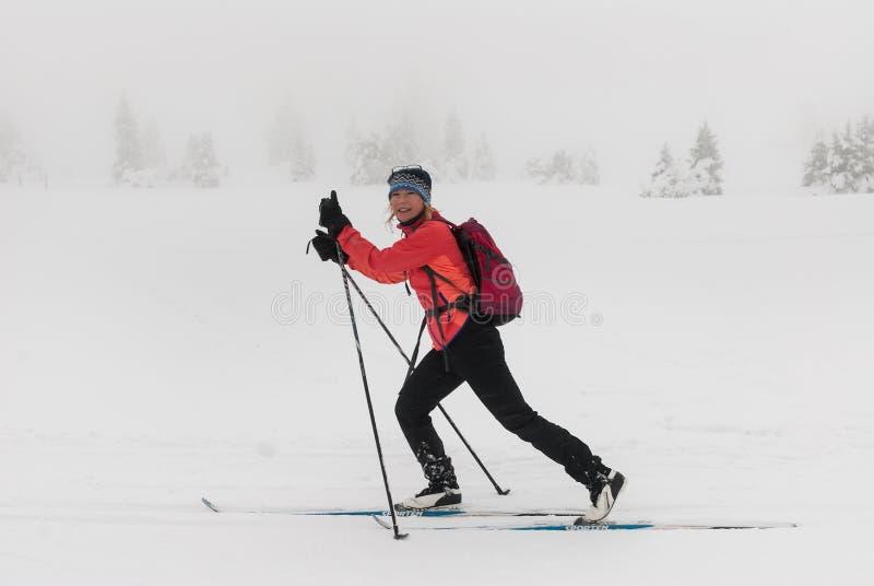 享用越野的女孩滑雪在斯诺伊有薄雾的风景 库存照片