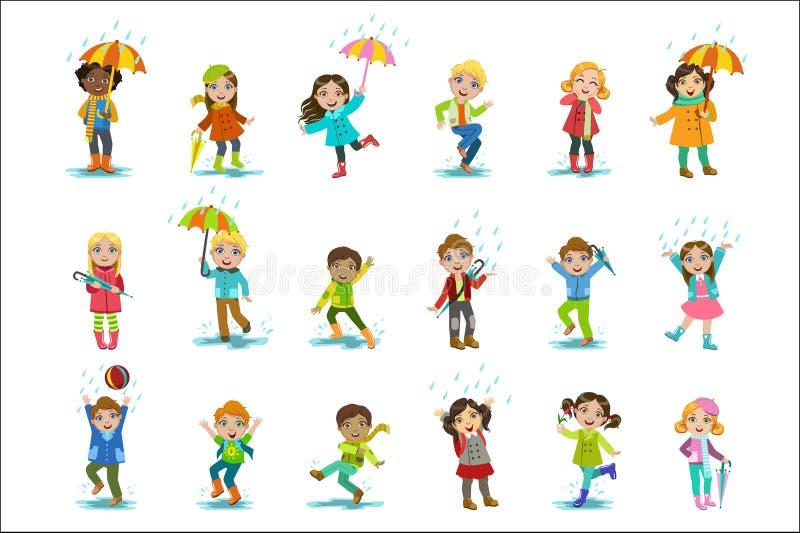 享用雨的孩子 库存例证