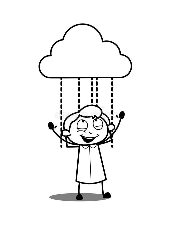享用雨的愉快的孩子女孩 皇族释放例证