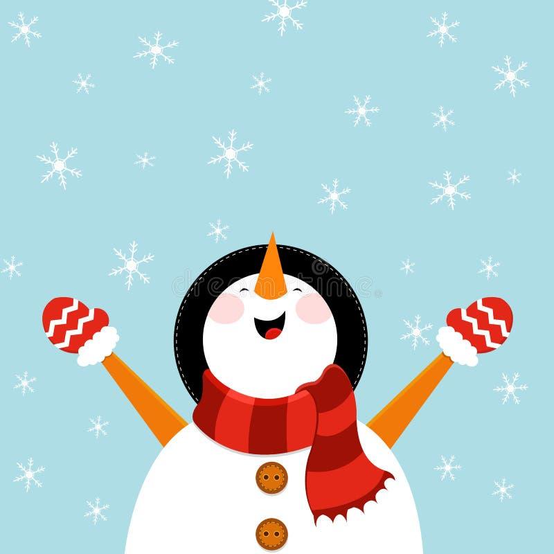 享用雪的雪人 向量例证