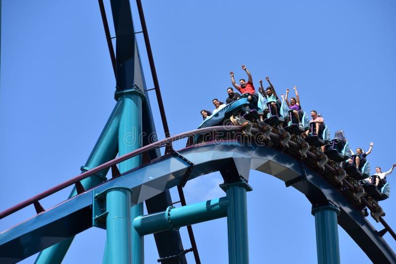 享用鲨鱼过山车的滑稽的人民在Seaworld海洋主题乐园 免版税库存照片