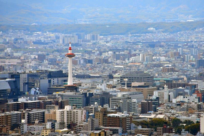 京都市视图-京都驻地/京都塔-京都日本 库存照片