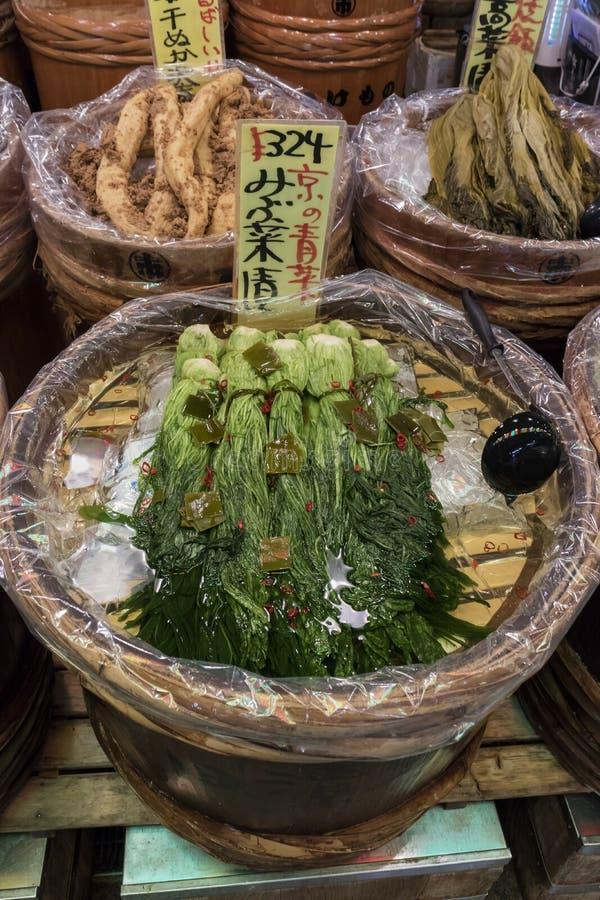 京都,日本,被保存的菜在西龟marke的待售 库存图片
