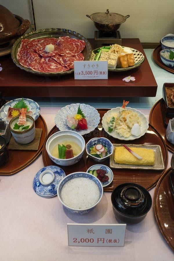 京都,日本- 2017年5月12日:复制品食物显示在前面o的 免版税库存照片