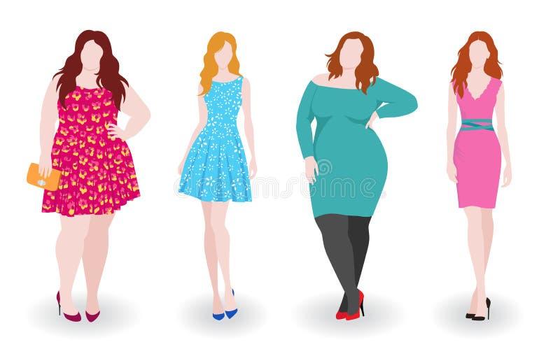亭亭玉立和肥胖时尚妇女 库存例证