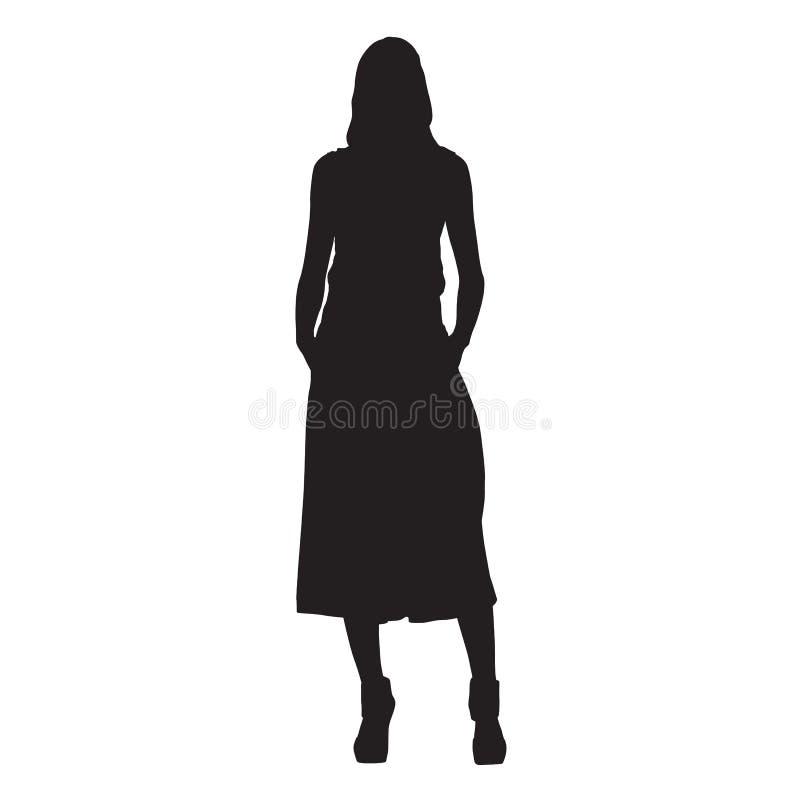 亭亭玉立的妇女身分,传染媒介剪影 库存例证