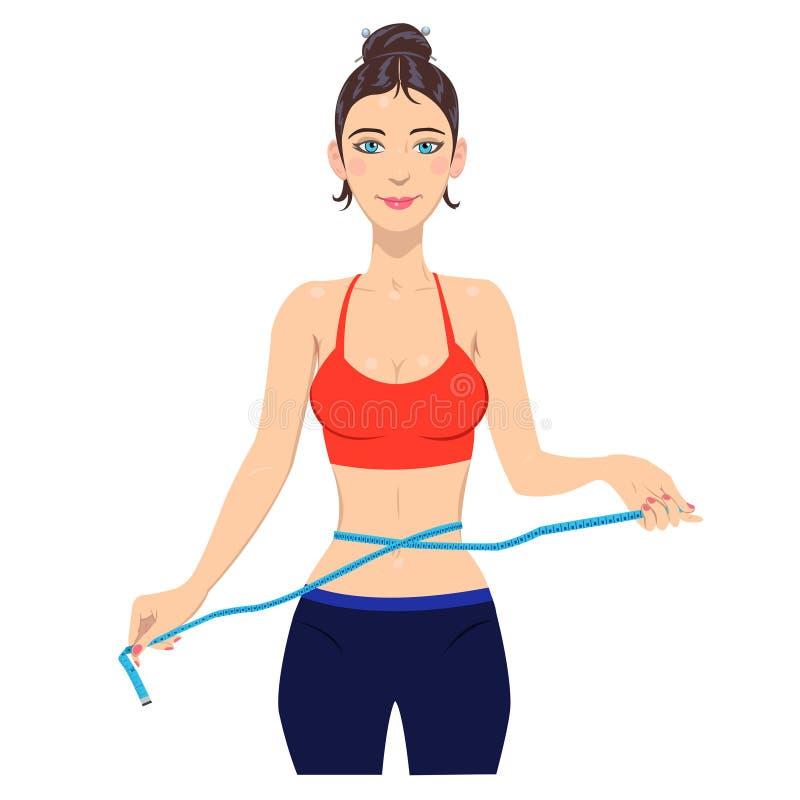 年轻亭亭玉立的有磁带的妇女测量的腰部 皇族释放例证