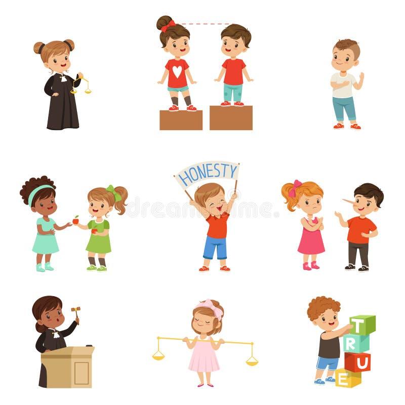 亲切和公平的小孩设置了,保护朋友的孩子,分享互相,执行正义传染媒介 向量例证