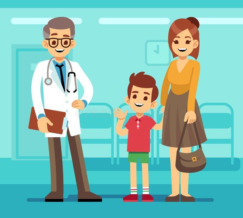 亲切的微笑的儿科医生医生和母亲有病的孩子的 小儿科关心传染媒介动画片概念 皇族释放例证