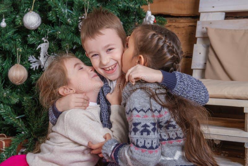 亲吻兄弟的青少年的女孩在圣诞树,大家下笑 库存图片