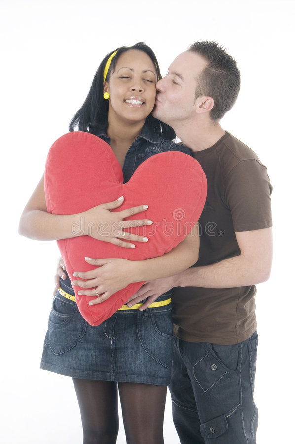 亲吻华伦泰的黑色夫妇日空白 库存照片
