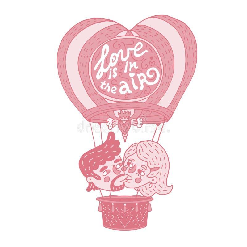亲吻在一个热的气球的愉快的年轻夫妇 向量例证