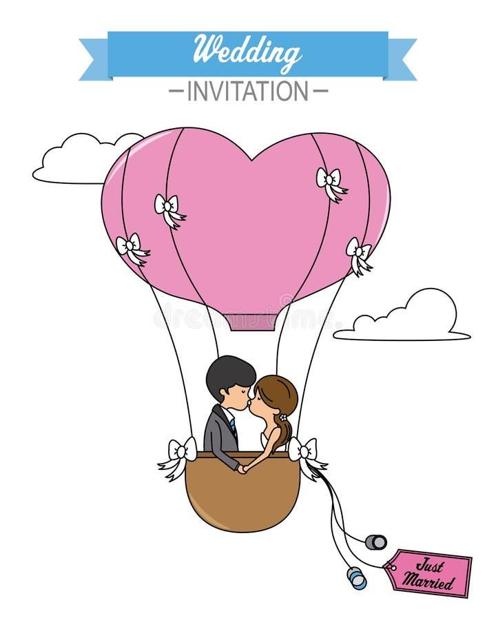 亲吻在一个热空气气球里面的新婚佳偶 向量例证