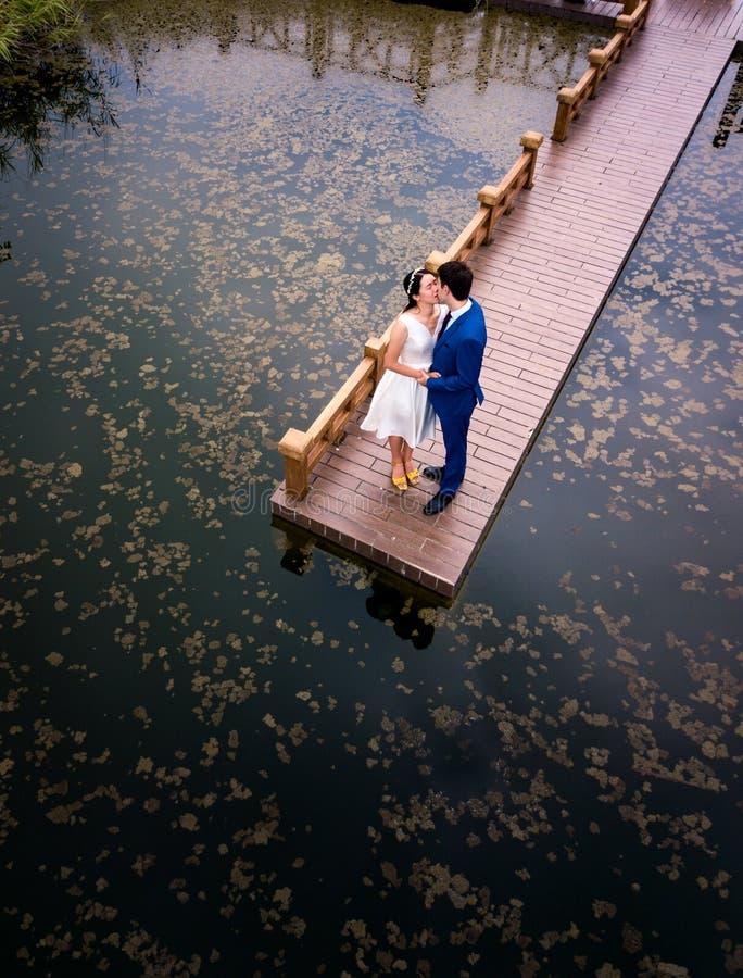 亲吻在公园的浪漫夫妇 免版税库存图片