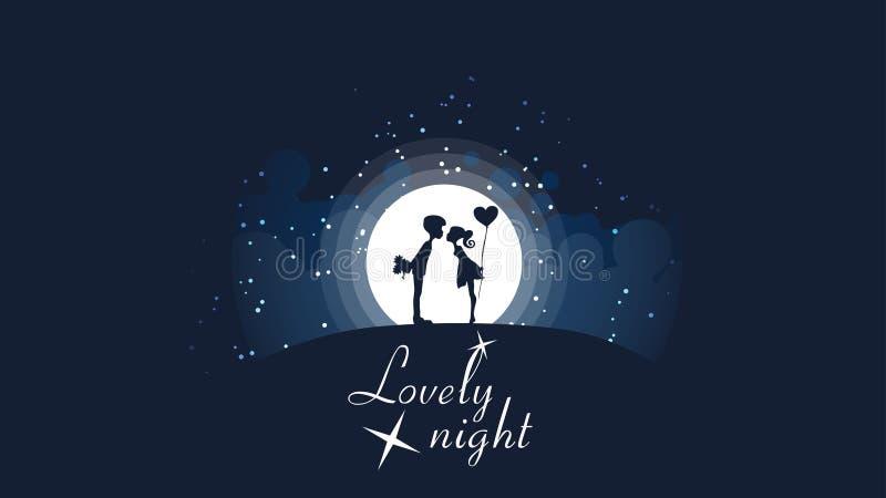 亲吻在大明亮的月亮和星前面的小山的两三个女孩和人 向量例证