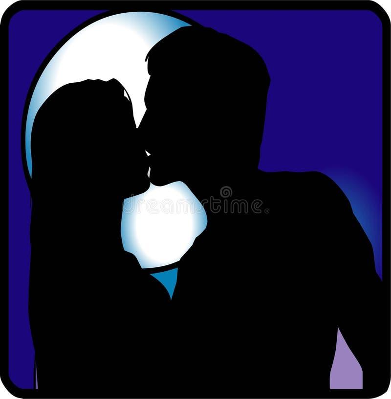 亲吻在晚上 免版税图库摄影