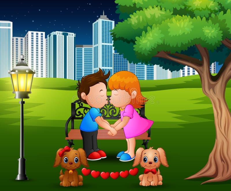 亲吻在树下的动画片浪漫夫妇在公园 向量例证