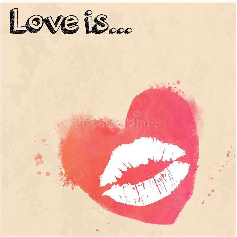 亲吻在水彩背景的印刷品以心脏的形式 向量例证