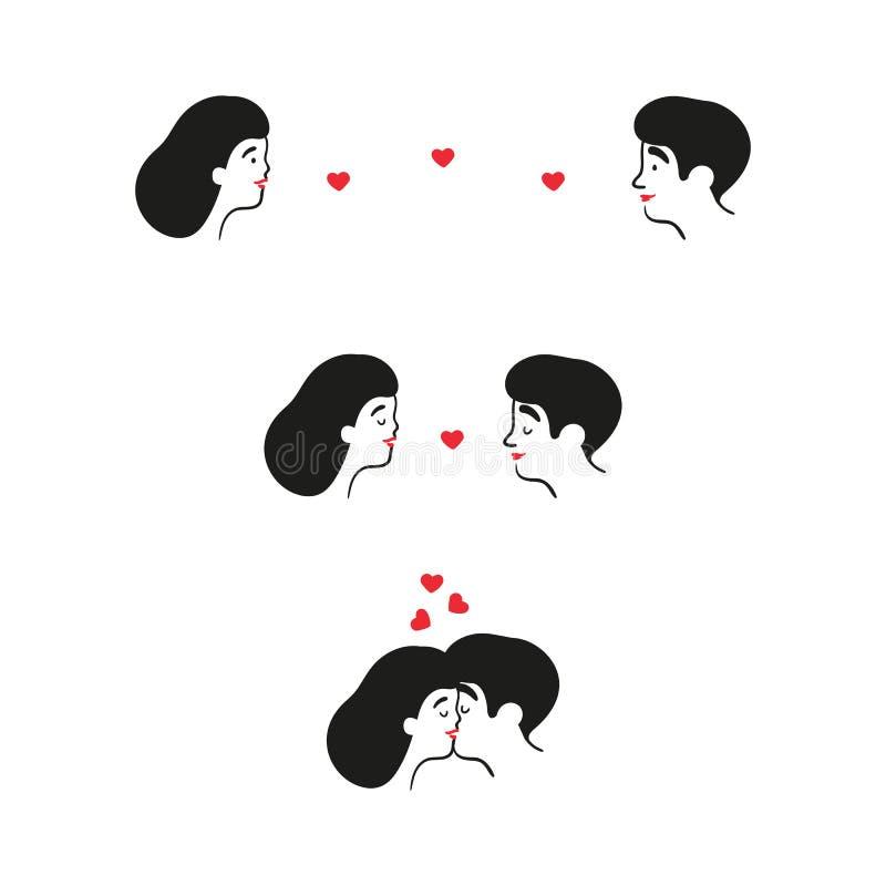 亲吻夫妇在日期 男人、妇女和心脏 库存例证