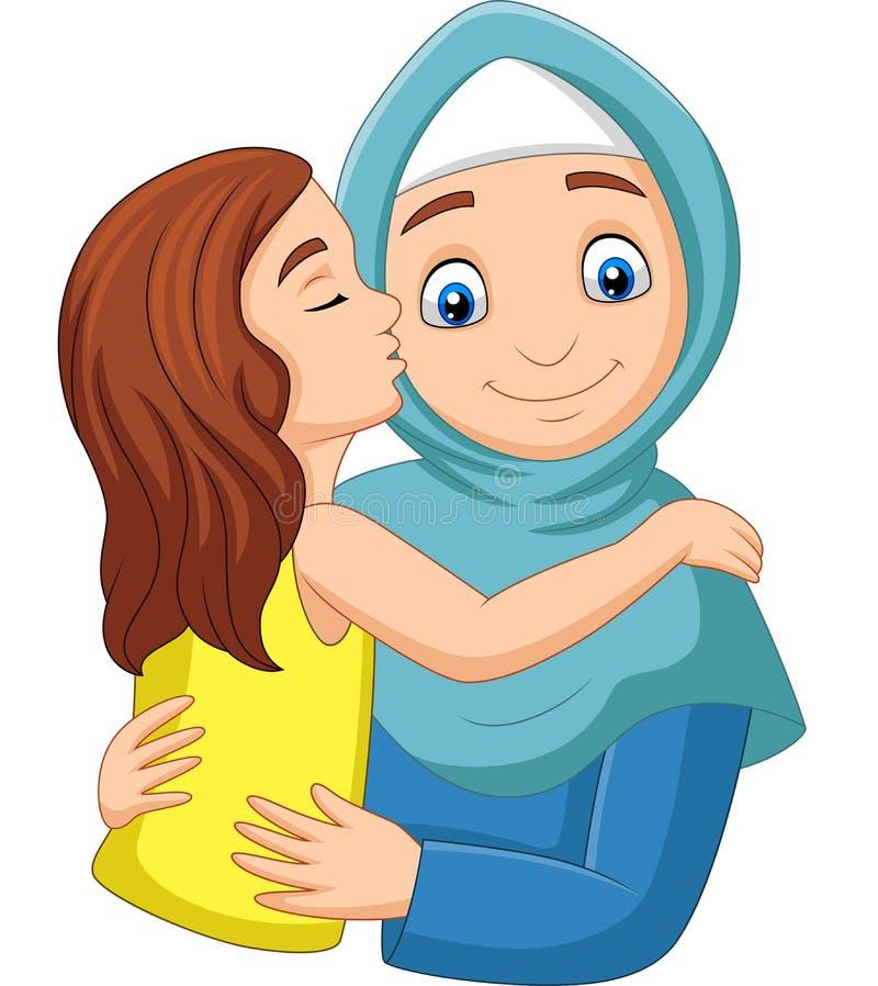 亲吻她的母亲的面颊的动画片女孩 库存例证