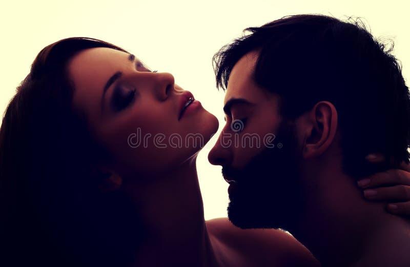 亲吻妇女的脖子的白种人人 库存图片