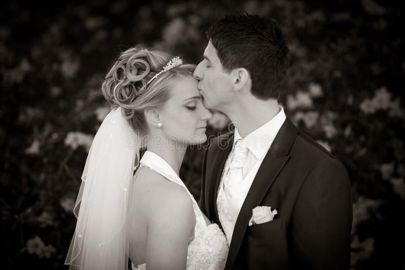 亲吻嫩婚礼 免版税库存照片
