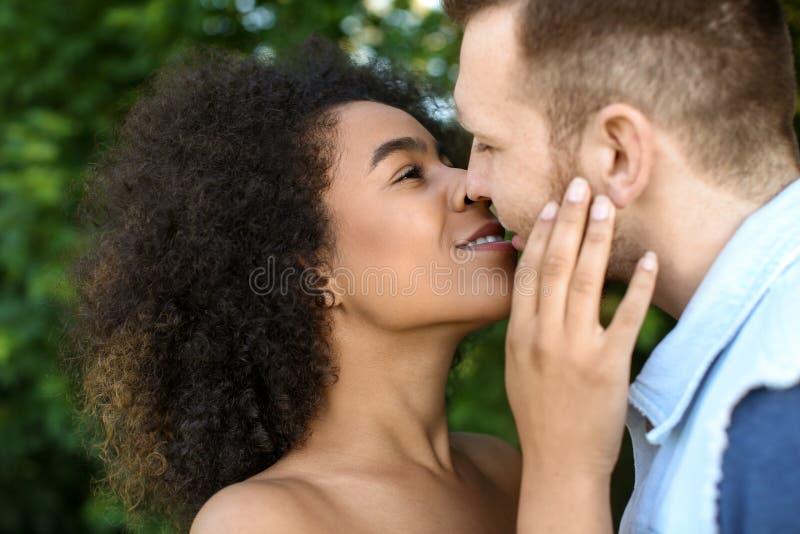 亲吻户外在春日的年轻爱恋的人种间夫妇 免版税图库摄影