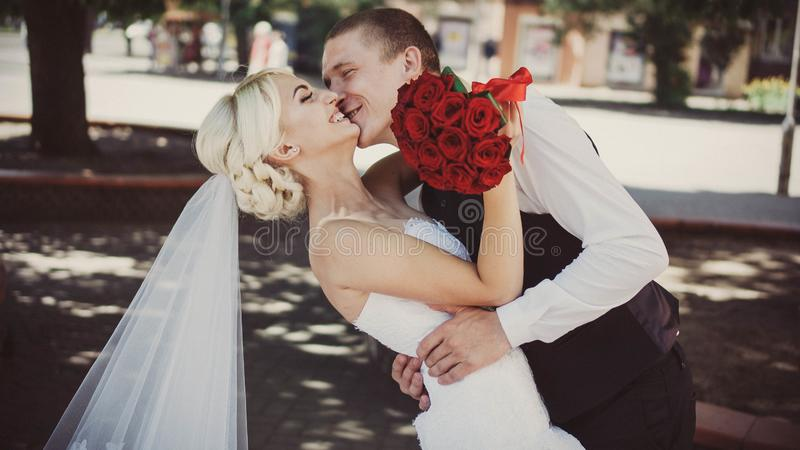 亲吻新娘和新郎,新郎在公园热情地拥抱婚姻的步行的新娘 库存照片