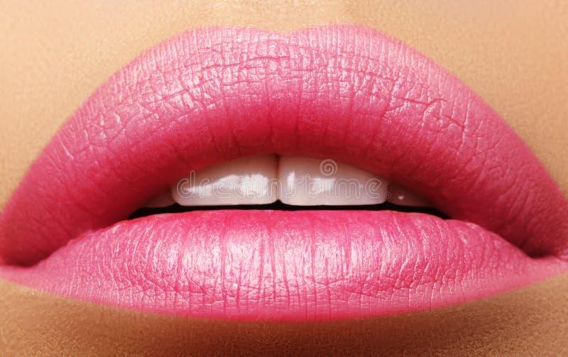 亲吻甜点 完善的自然桃红色嘴唇构成 关闭与美丽的女性嘴的宏观照片 肥满充分的嘴唇 免版税图库摄影
