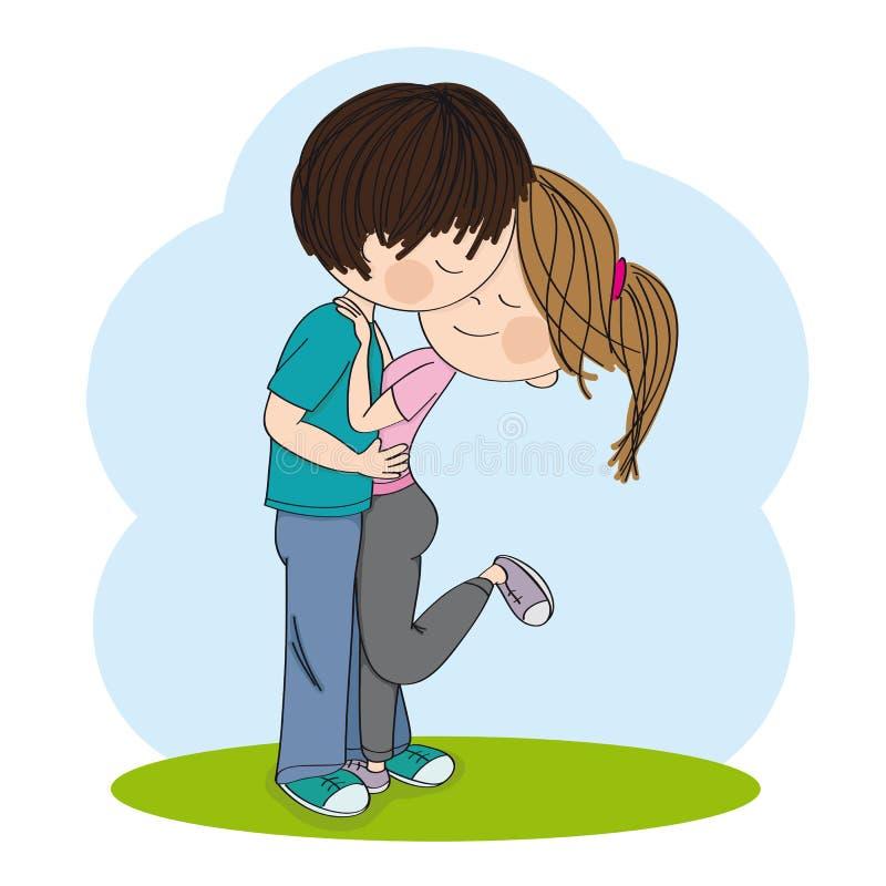 亲吻的恋人年轻夫妇站立,拥抱和 ? 皇族释放例证