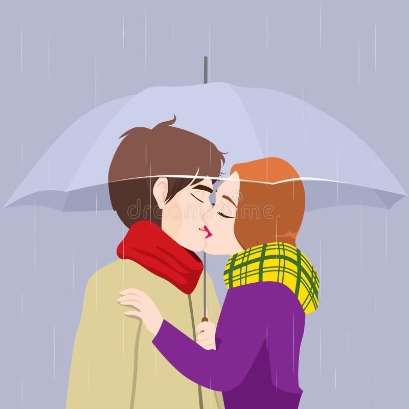 亲吻结合在伞下 向量例证