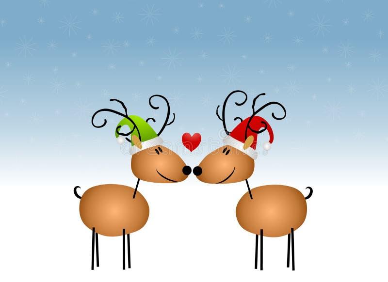 亲吻驯鹿的动画片 向量例证