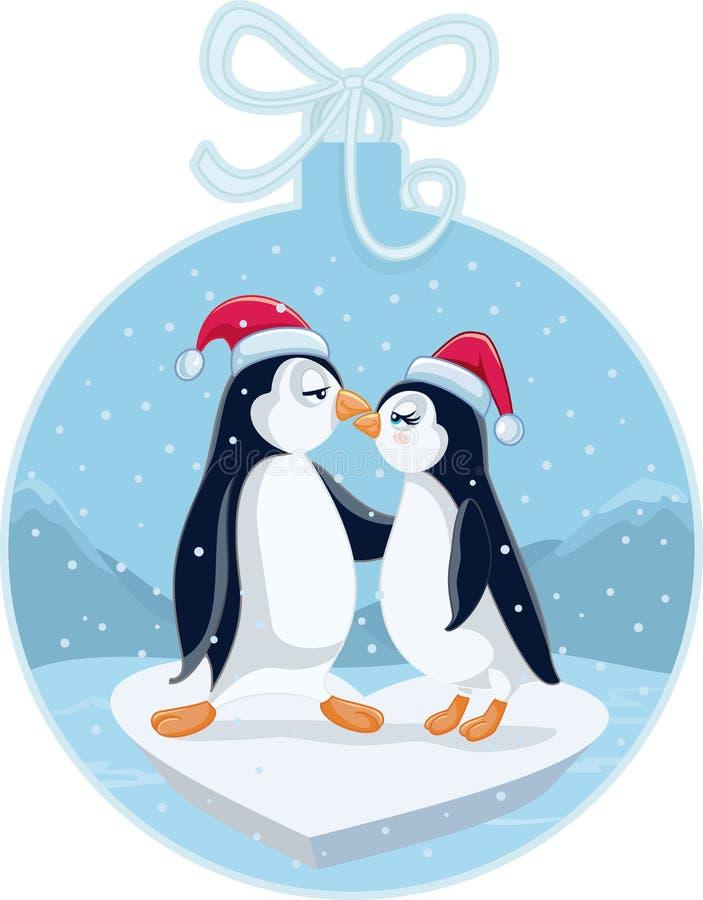 亲吻传染媒介动画片的逗人喜爱的圣诞节企鹅 向量例证