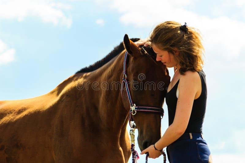 亲吻和拥抱棕色马的骑师女孩 库存照片