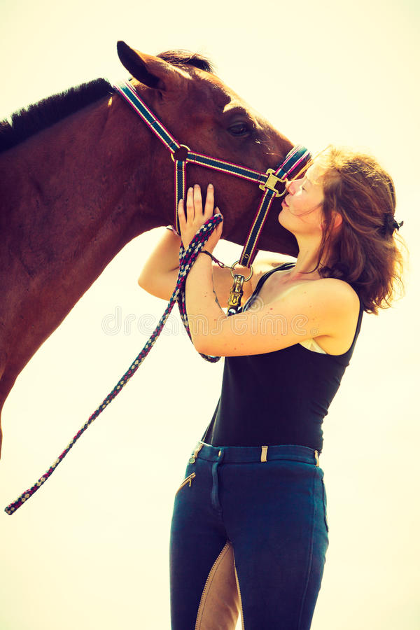 亲吻和拥抱棕色马的骑师女孩 库存图片
