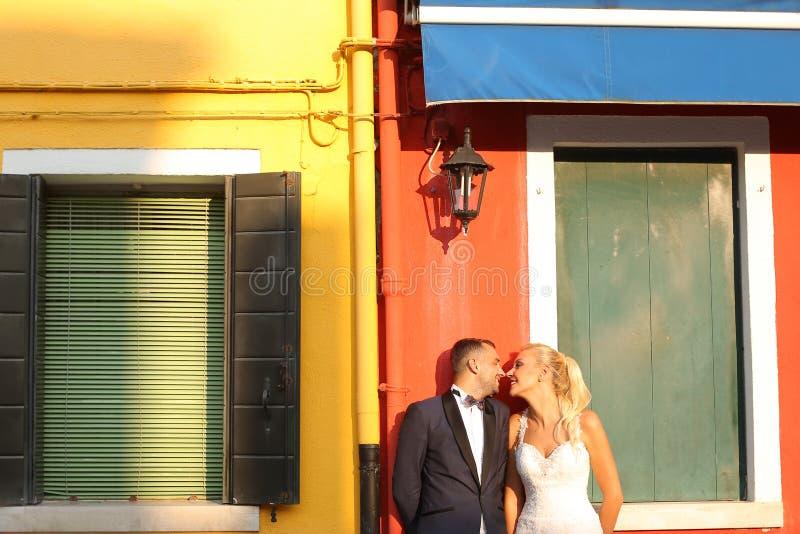 亲吻在城市的新娘和新郎 库存照片