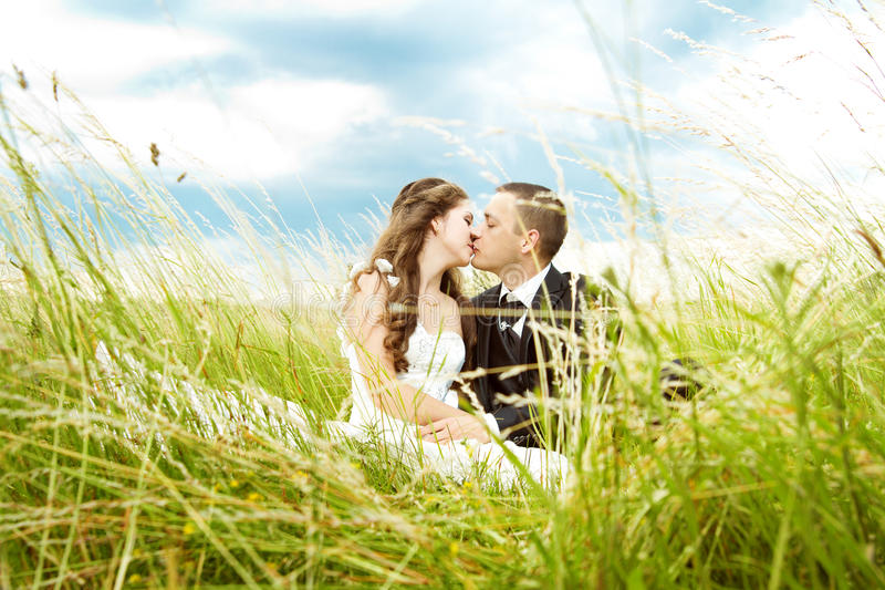 亲吻在草的婚礼夫妇、新娘和新郎 免版税图库摄影