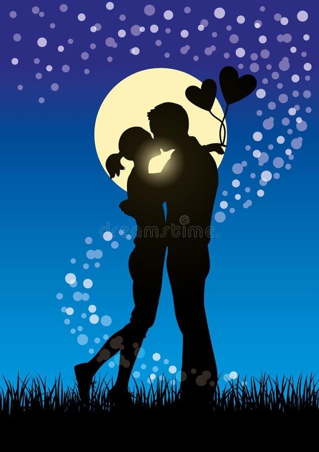 亲吻夫妇sihouette的恋人 皇族释放例证